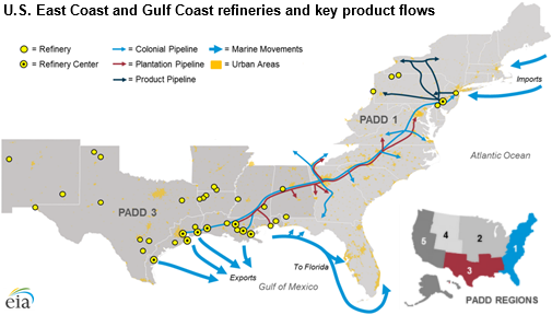 Pipelines, tankers, and barges convey transportation fuels ...