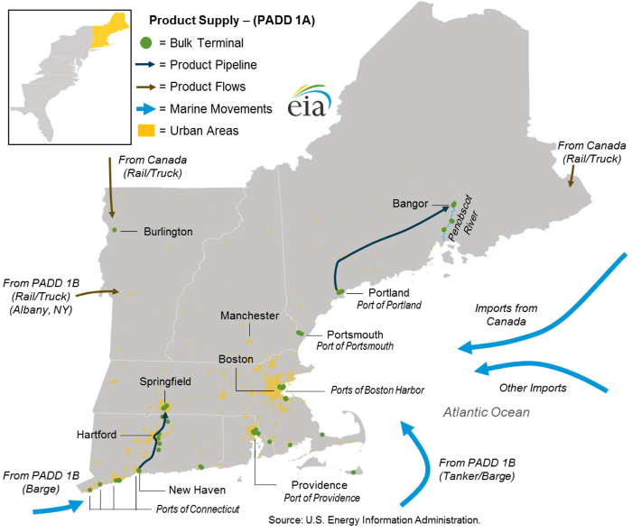 Pipelines, tankers, and barges convey transportation fuels